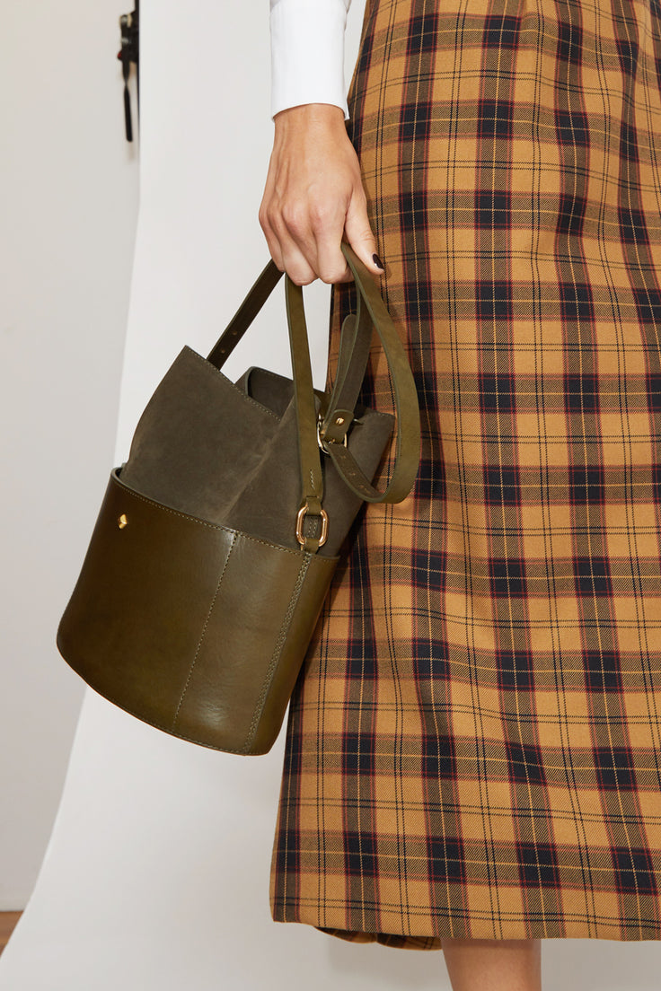 Image of Herbert Frere Soeur Le Jo Velours Bucket Bag in Khaki / Khaki