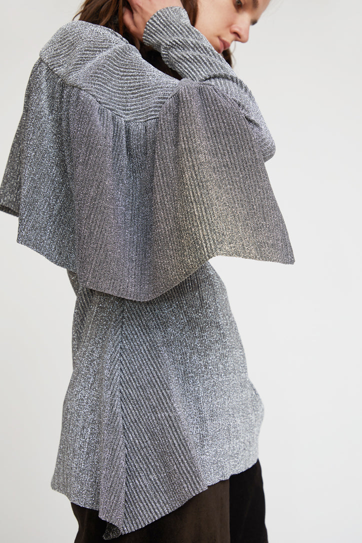 Image of INSHADE Blouse With Frill in Silver