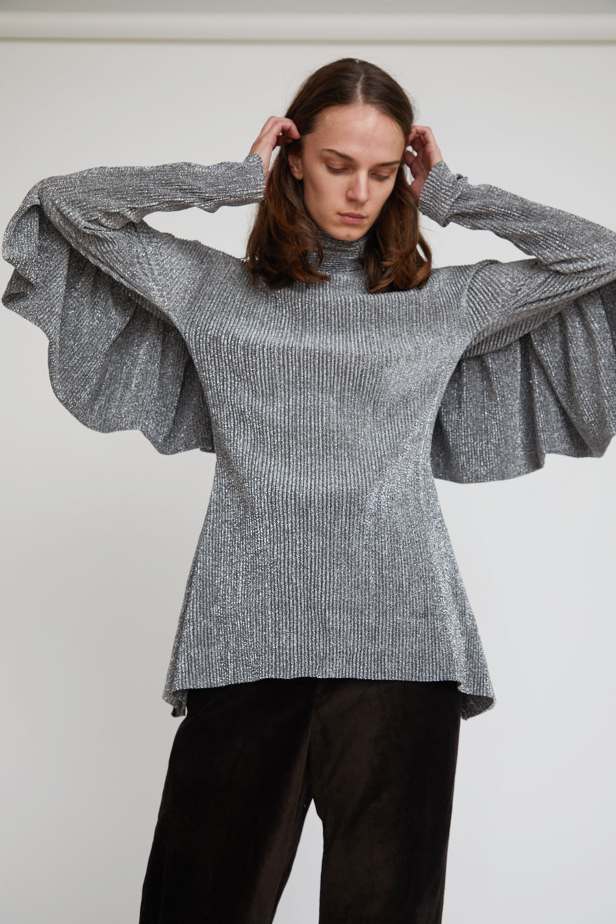 INSHADE Blouse With Frill in Silver