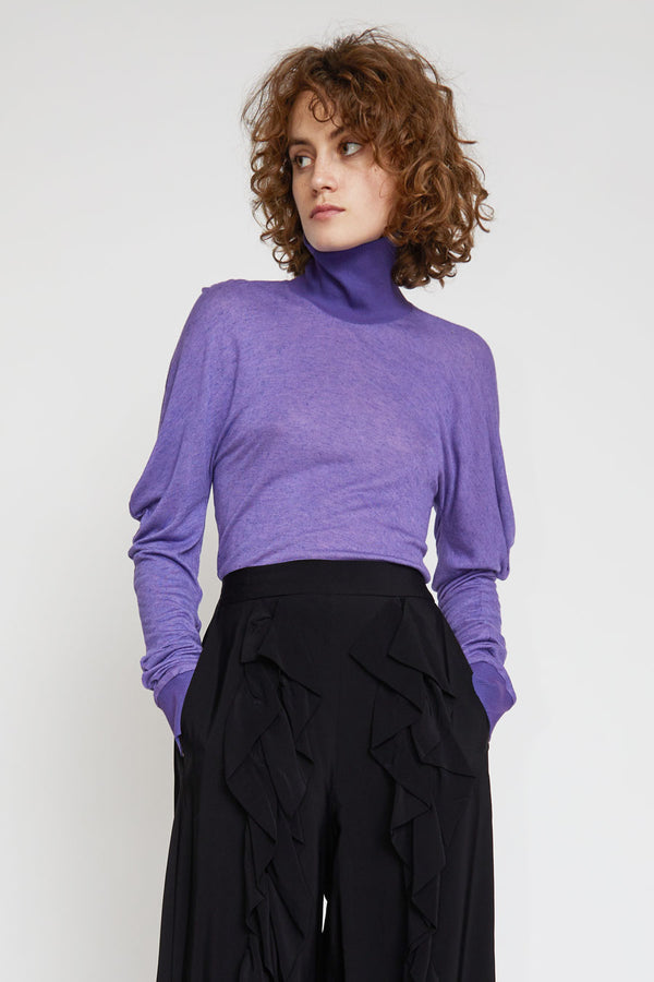 INSHADE Turtleneck Blouse With Volume Sleeves in Purple