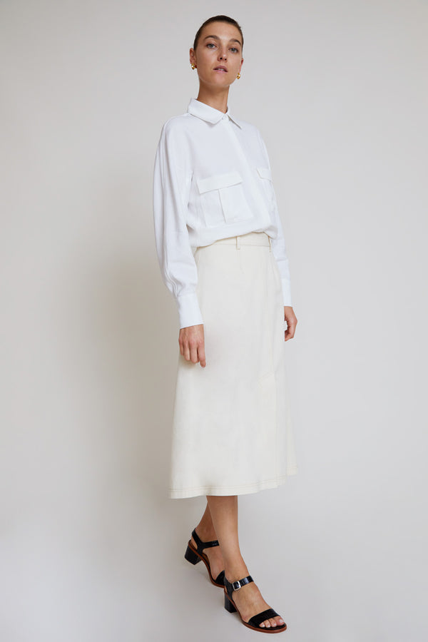 Kallmeyer Denim Skirt in Bone