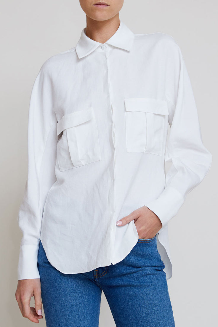 Image of Kallmeyer Safari Blouse in White Roma Linen
