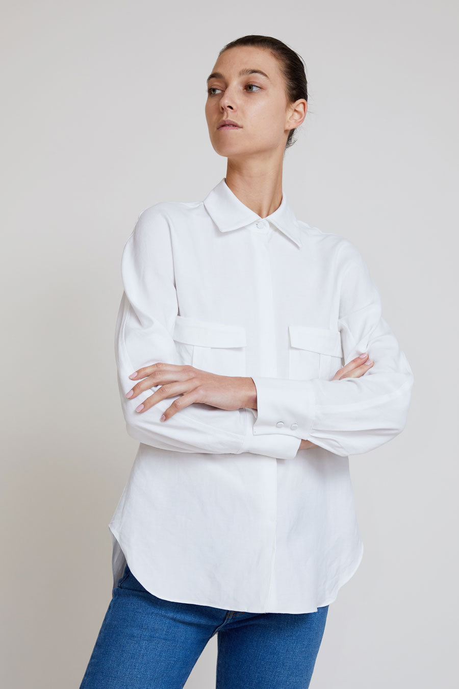 Kallmeyer Safari Blouse in White Roma Linen