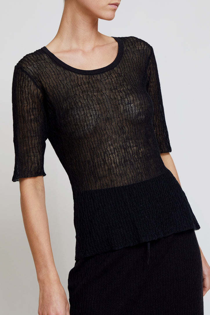 Image of Kallmeyer Knit Micropleat Scoop Tee in Black