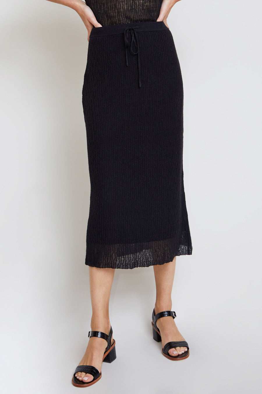 Kallmeyer Knit Micropleat Drawstring Skirt in Black