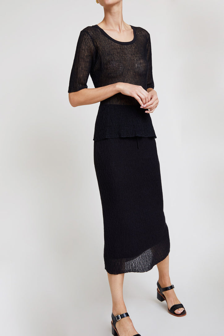 Image of Kallmeyer Knit Micropleat Drawstring Skirt in Black