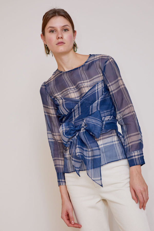 No.6 Kelly Wrap Top in Blue/White Plaid Organza
