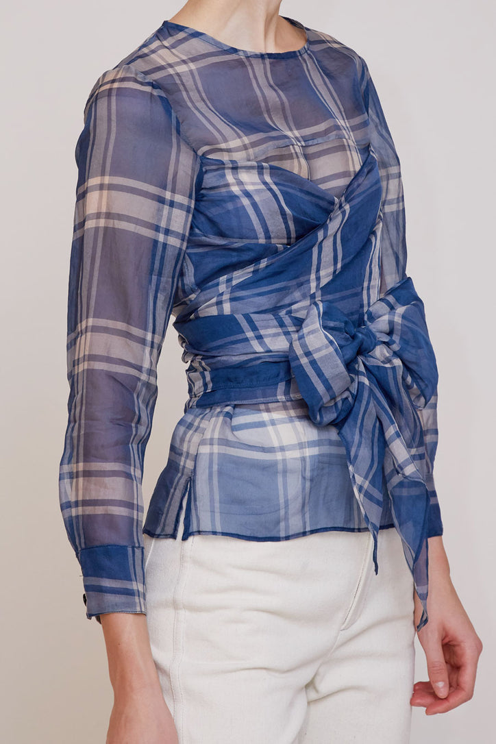 Image of No.6 Kelly Wrap Top in Blue/White Plaid Organza