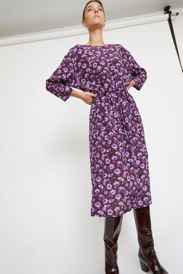 No.6 Lara Dress in Espresso / Violet Primrose