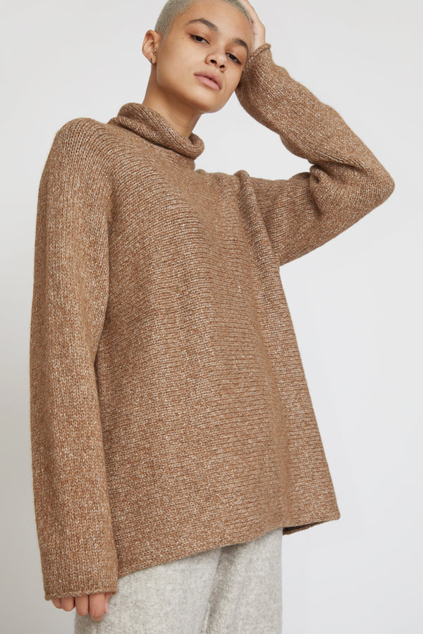 Lauren Manoogian Horizontal Turtleneck in Brown White