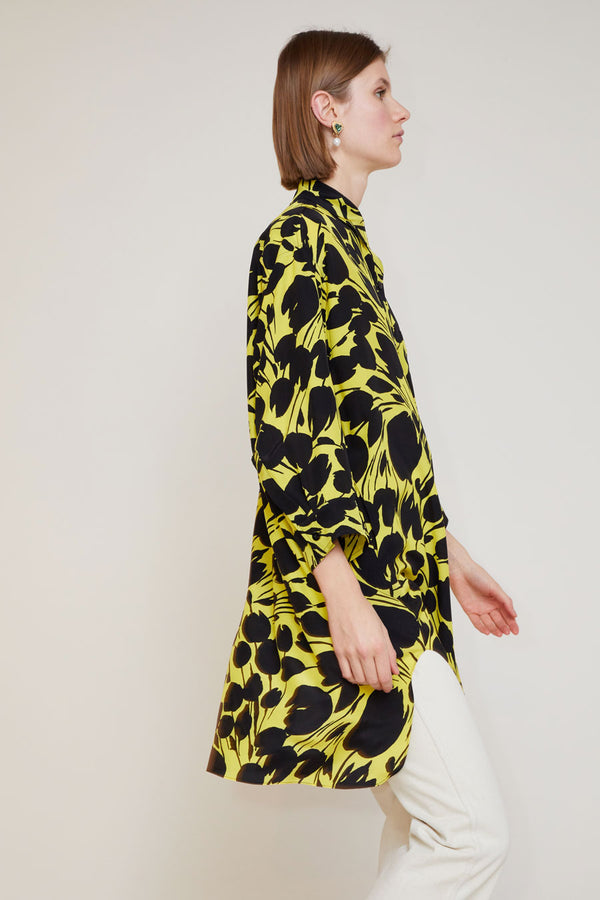 No.6 Lulu Shirt Dress in Black and Yellow Tulip