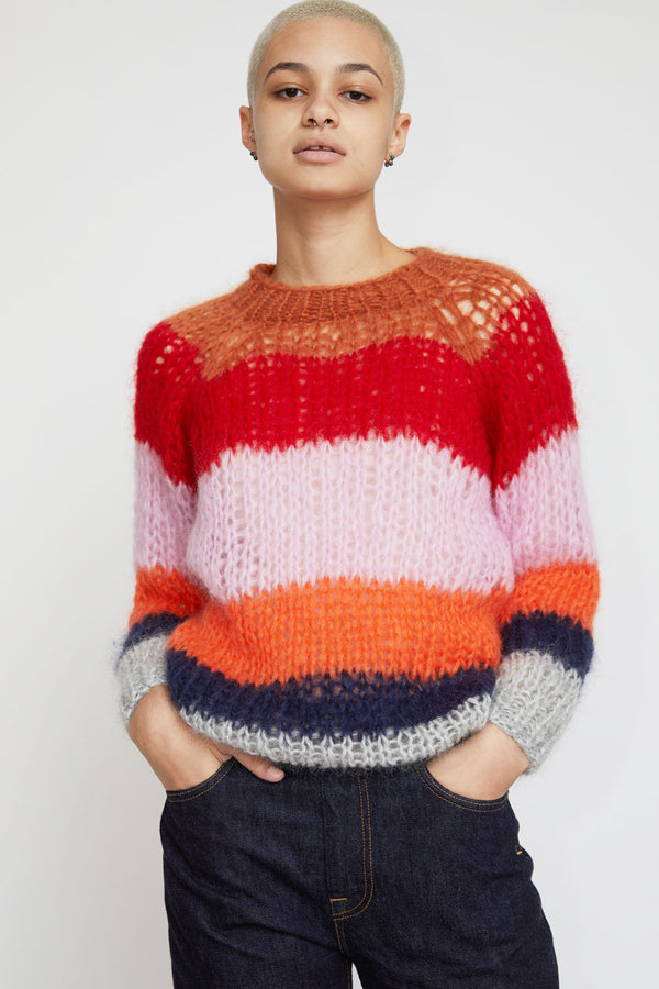 Maiami Mohair Basic Stripe Sweater in Copper-Rose