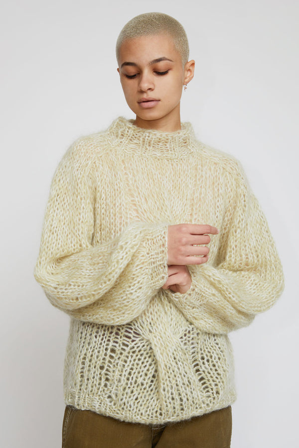 Maiami Mohair Blousy Cable Knit Sweater in Pistacchio Melange