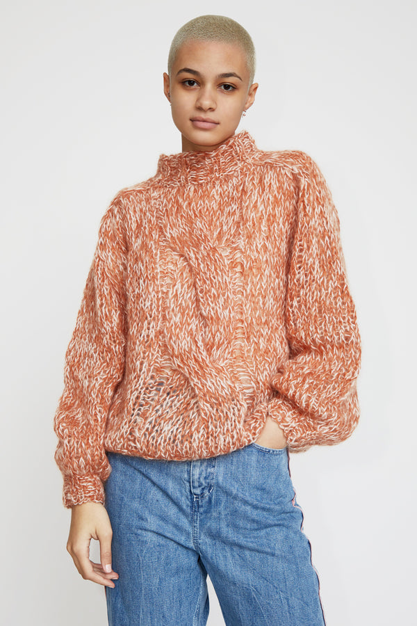 Maiami Mohair Blousy Cable Knit Sweater in Copper Melange