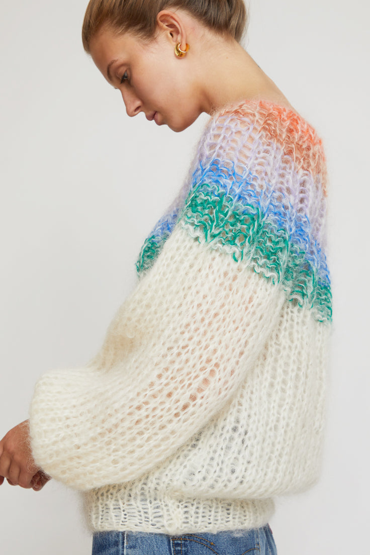 Image of Maiami Mohair Pleated Sweater in Cream Gradient