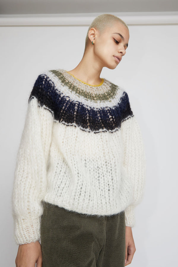 Maiami Mohair Pleated Sweater In Cream Grey Navy Gradient