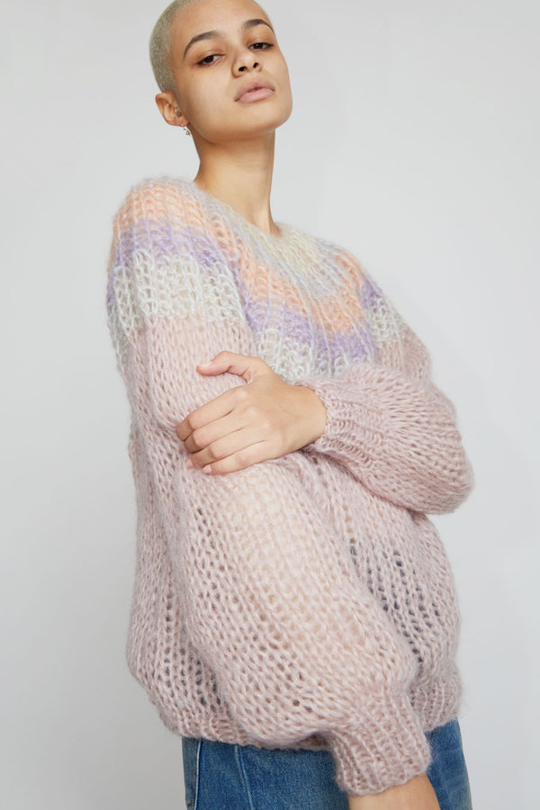 Maiami Mohair Pleated Sweater in Rose Gradient