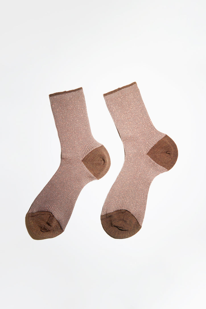 Image of Maria La Rosa Wool Lurex Mid Calf Sock in Mocha