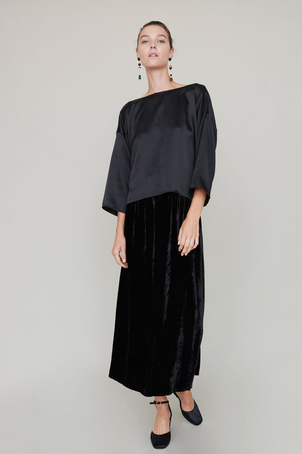 Miranda Bennett Paper Bag Skirt in Black Velvet