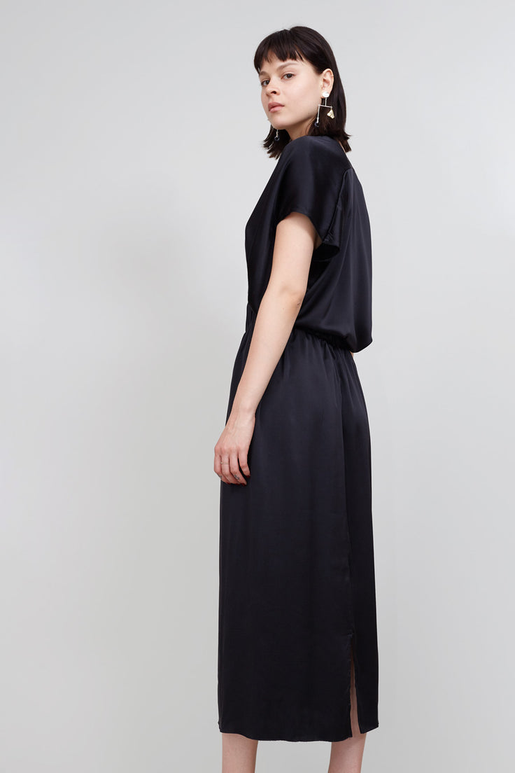 Image of Miranda Bennett Paper Bag Skirt in Black Silk Charmeuse