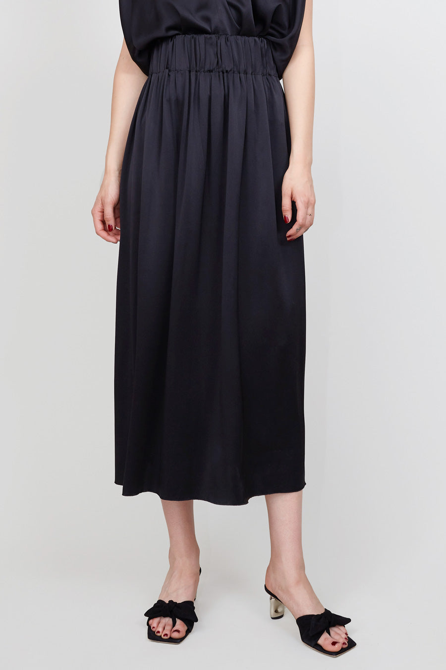 Miranda Bennett Paper Bag Skirt in Black Silk Charmeuse