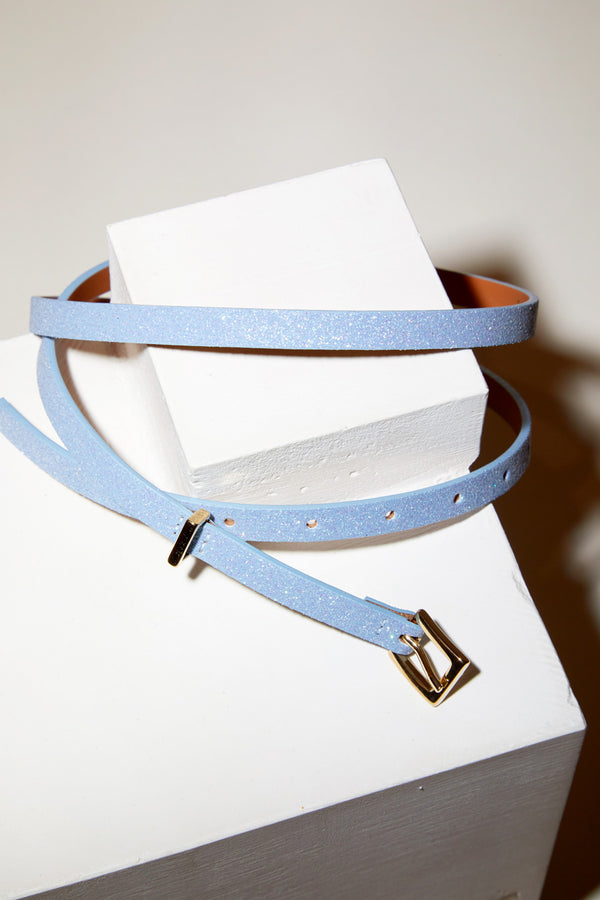 Maison Boinet Thin Glitter Belt in Glacier