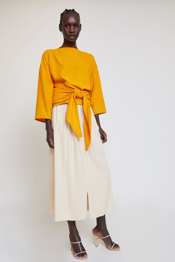 Miranda Bennett Paper Bag Skirt in Lucien Silk Noil