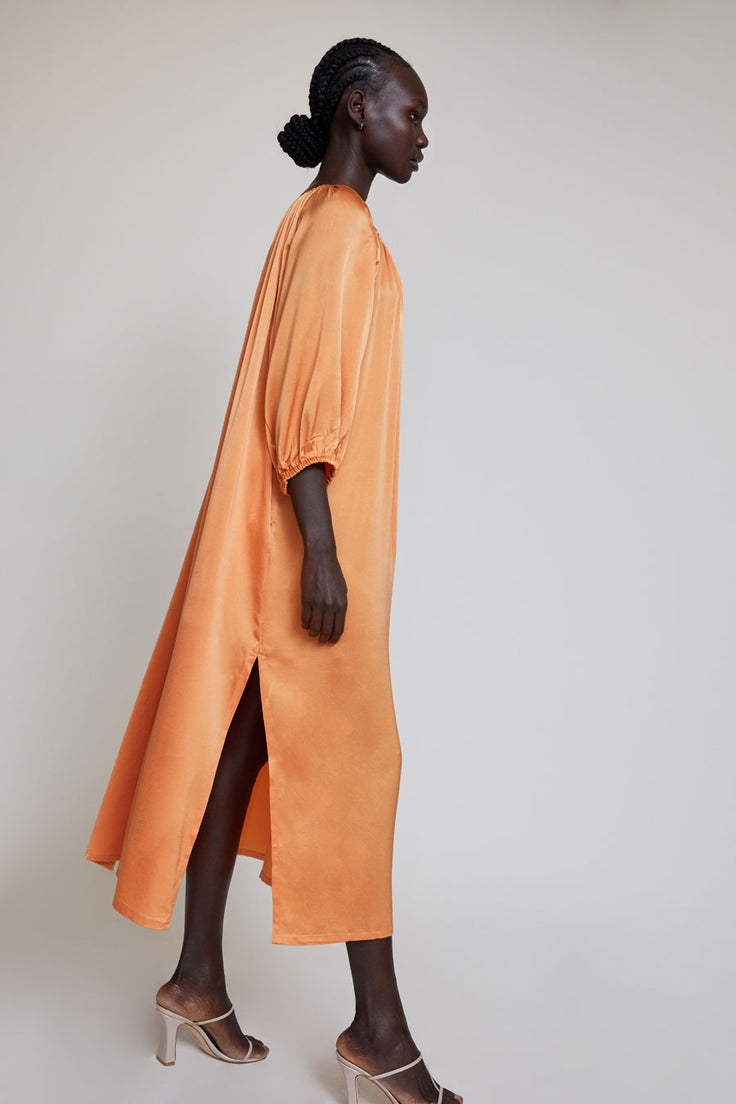 Image of Miranda Bennett Cassatt Dress in Mandarin Silk Charmeuse