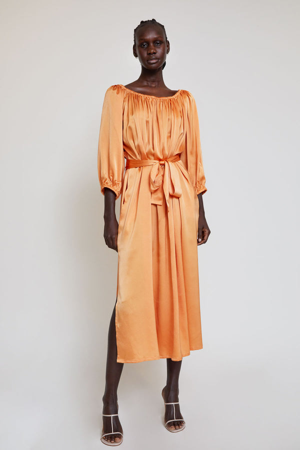 Miranda Bennett Cassatt Dress in Mandarin Silk Charmeuse