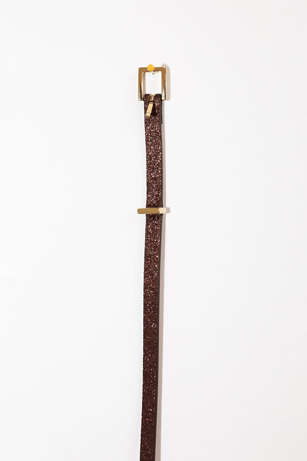Maison Boinet Thin Glitter Belt in Mahogany