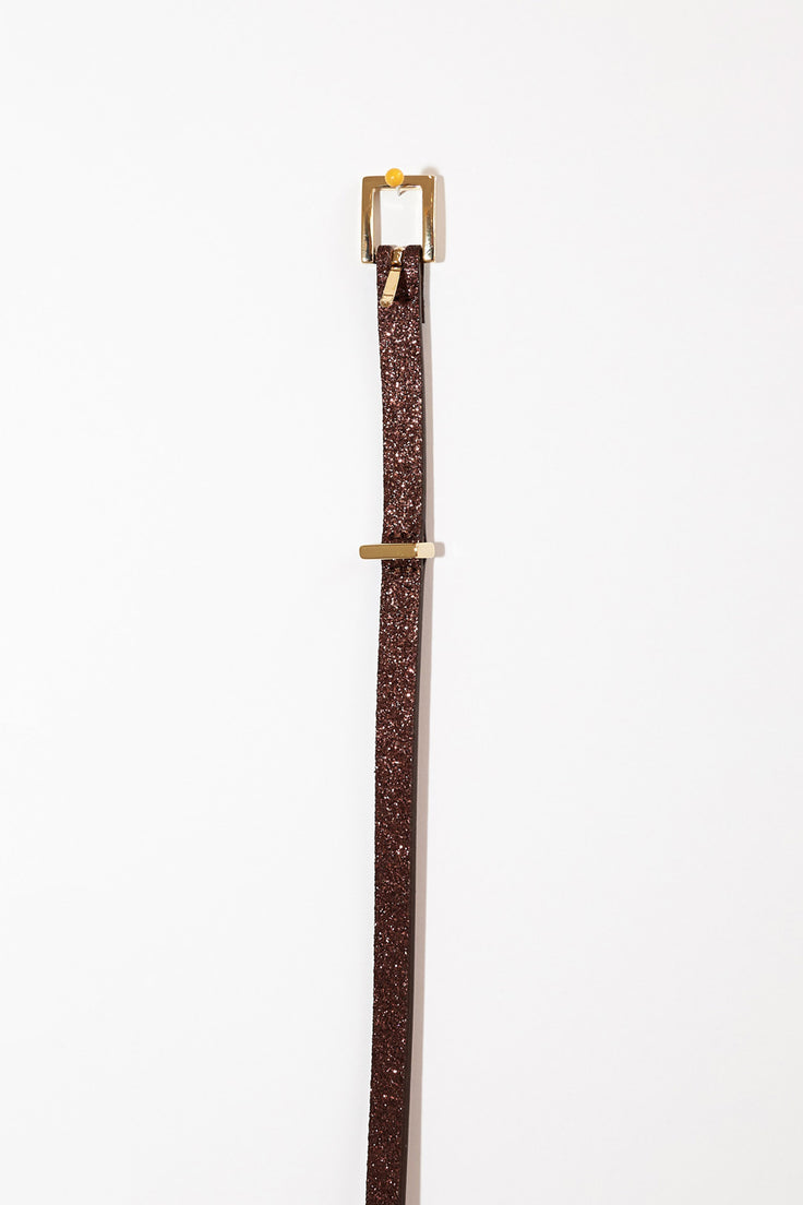 Image of Maison Boinet Thin Glitter Belt in Mahogany