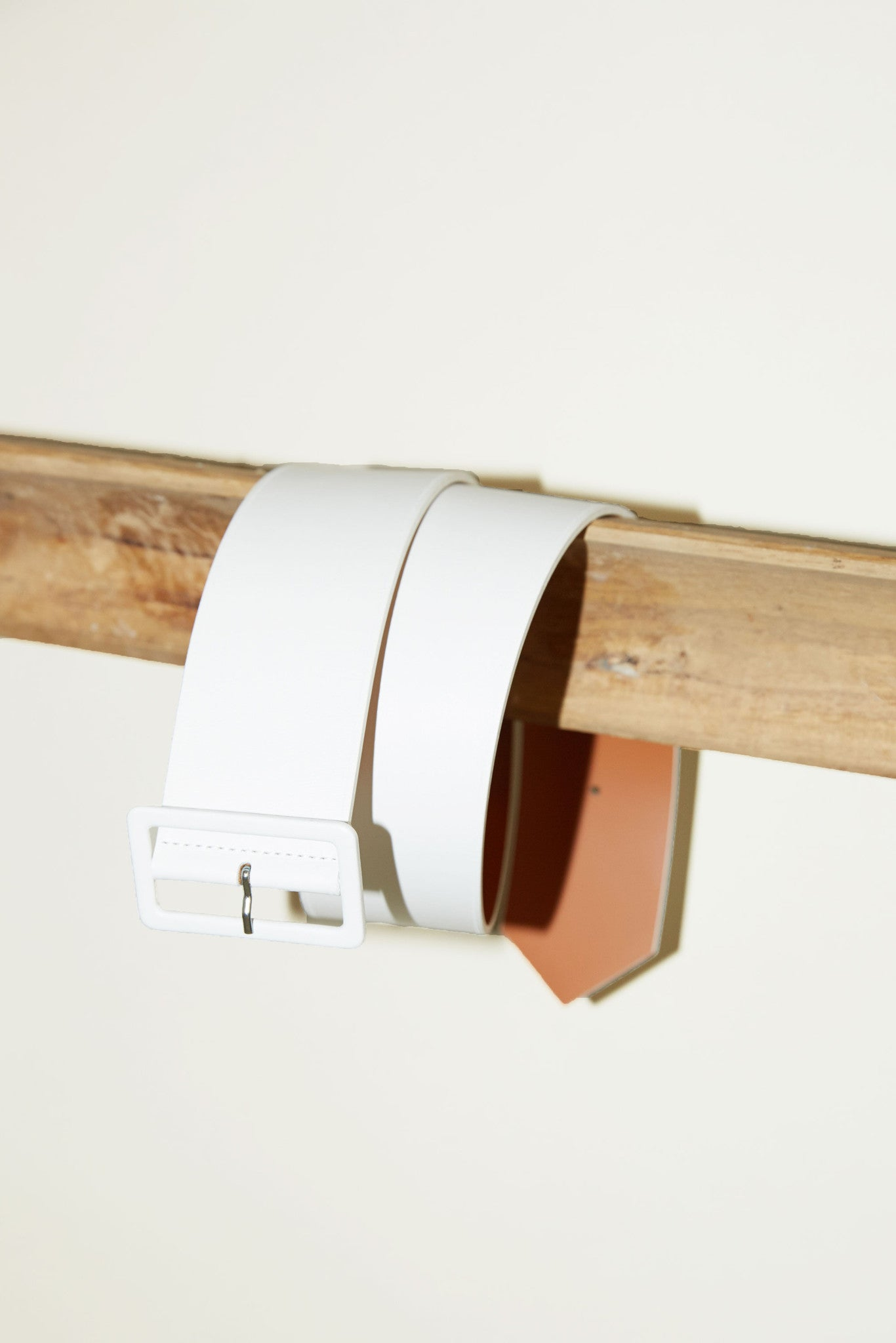 Maison Boinet Thick Belt with Rectangle Buckle in Blanc Leather