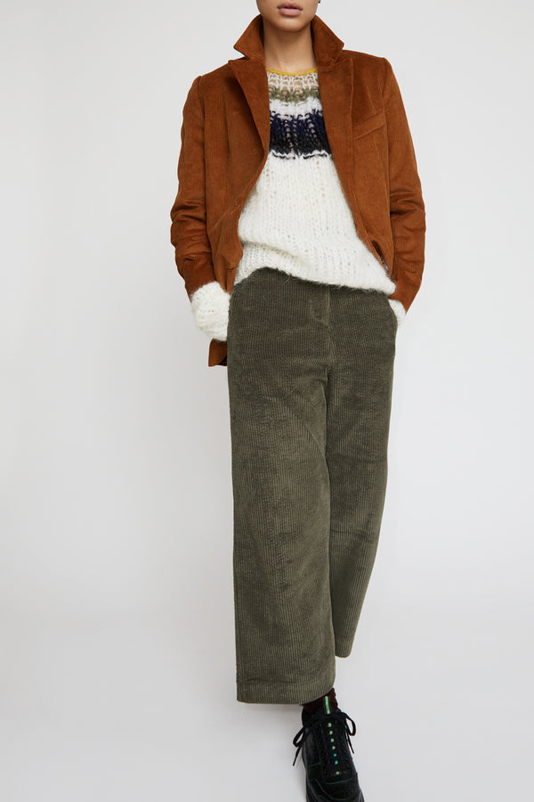Mijeong Park Corduroy Wide Leg Trousers in Olive