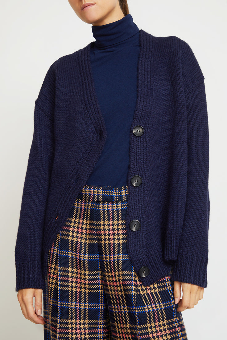 Image of Mijeong Park Chunky Cardigan in Navy