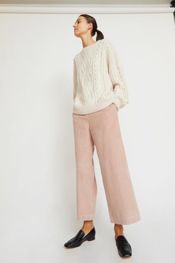 Mijeong Park Corduroy Wide Leg Trousers in Pink