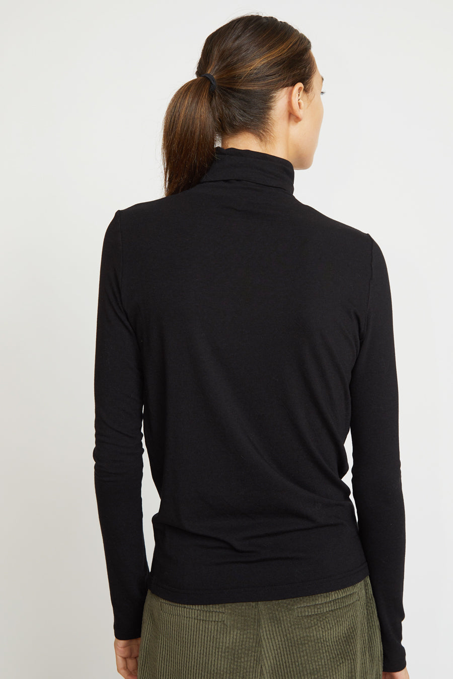 Mijeong Park Rollneck Jersey Top in Black