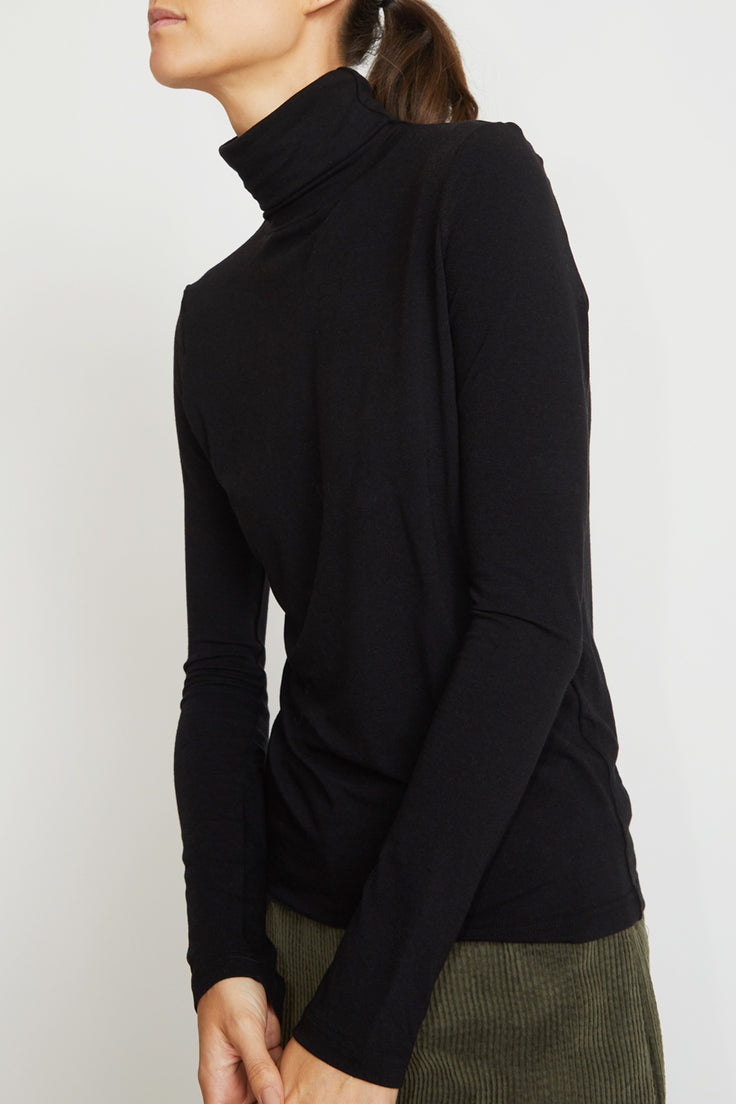 Image of Mijeong Park Rollneck Jersey Top in Black