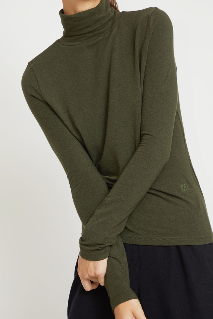 Image of Mijeong Park Rollneck Jersey Top in Olive