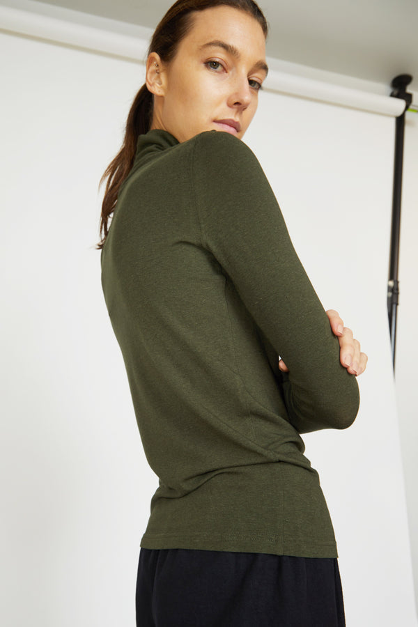 Mijeong Park Rollneck Jersey Top in Olive