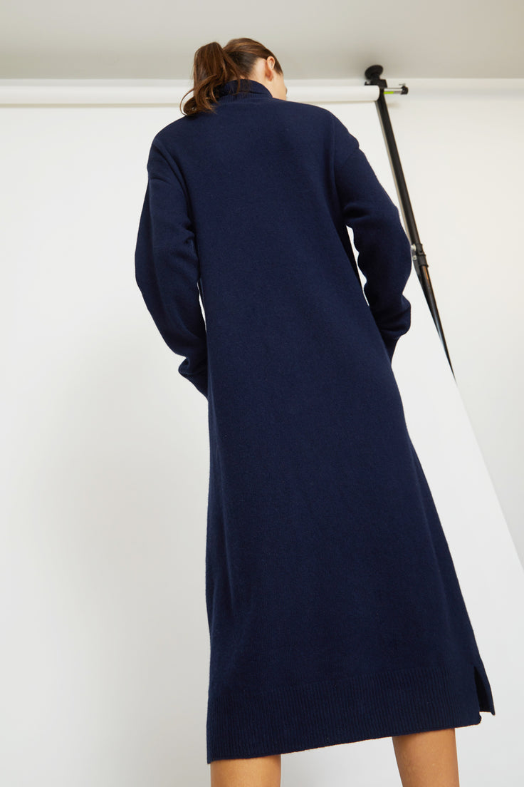 Image of Mijeong Park Wholegarment Knit Dress in Navy
