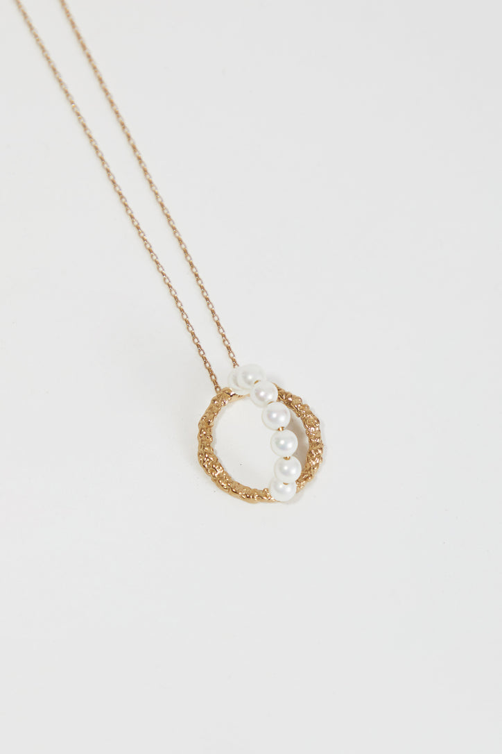 Image of Mirit Weinstock Petite Hoop and Pearls Pendant in Gold Plate