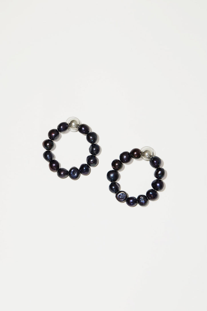 Image of Mirit Weinstock Natural Pearl Hoops in Silver / Purple Black