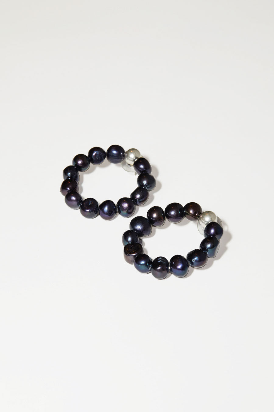 Mirit Weinstock Natural Pearl Hoops in Silver / Purple Black