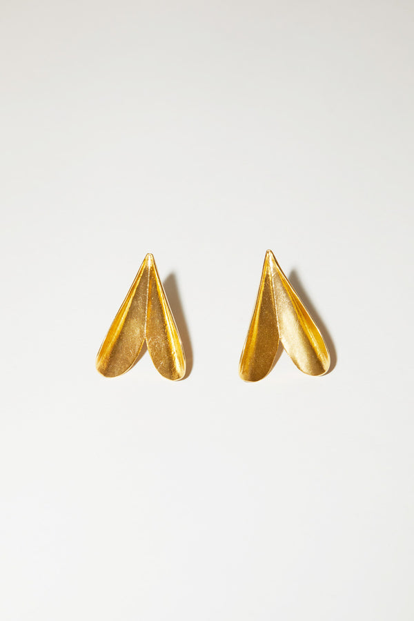 Mirit Weinstock Folded Hearts Statement Earrings in Gold Plated Silver