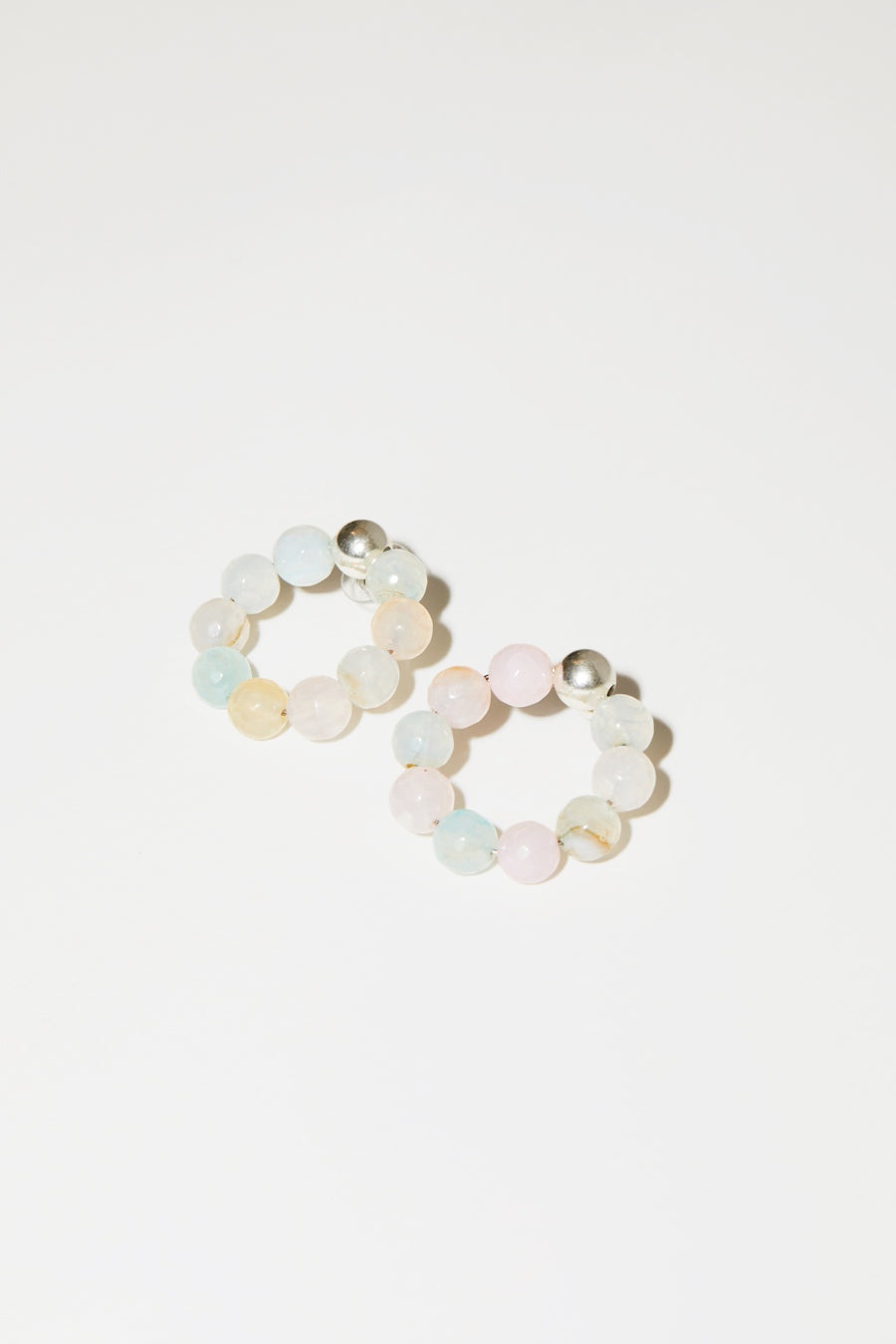 Mirit Weinstock Candy Hoops in Silver / Candy
