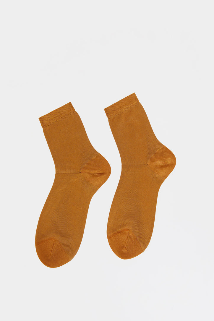 Image of Maria La Rosa Silk Ankle Sock in Cannella