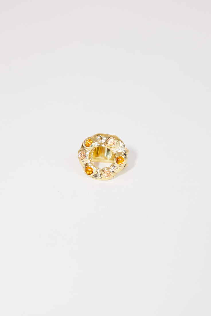 Image of Mondo Mondo Halo Ring in Brass with Pink and Yellow Glass Stones