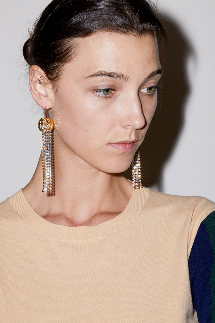 Image of Mondo Mondo Ionic Earrings in Brass with Crystals and 18K Yellow Gold Vermeil
