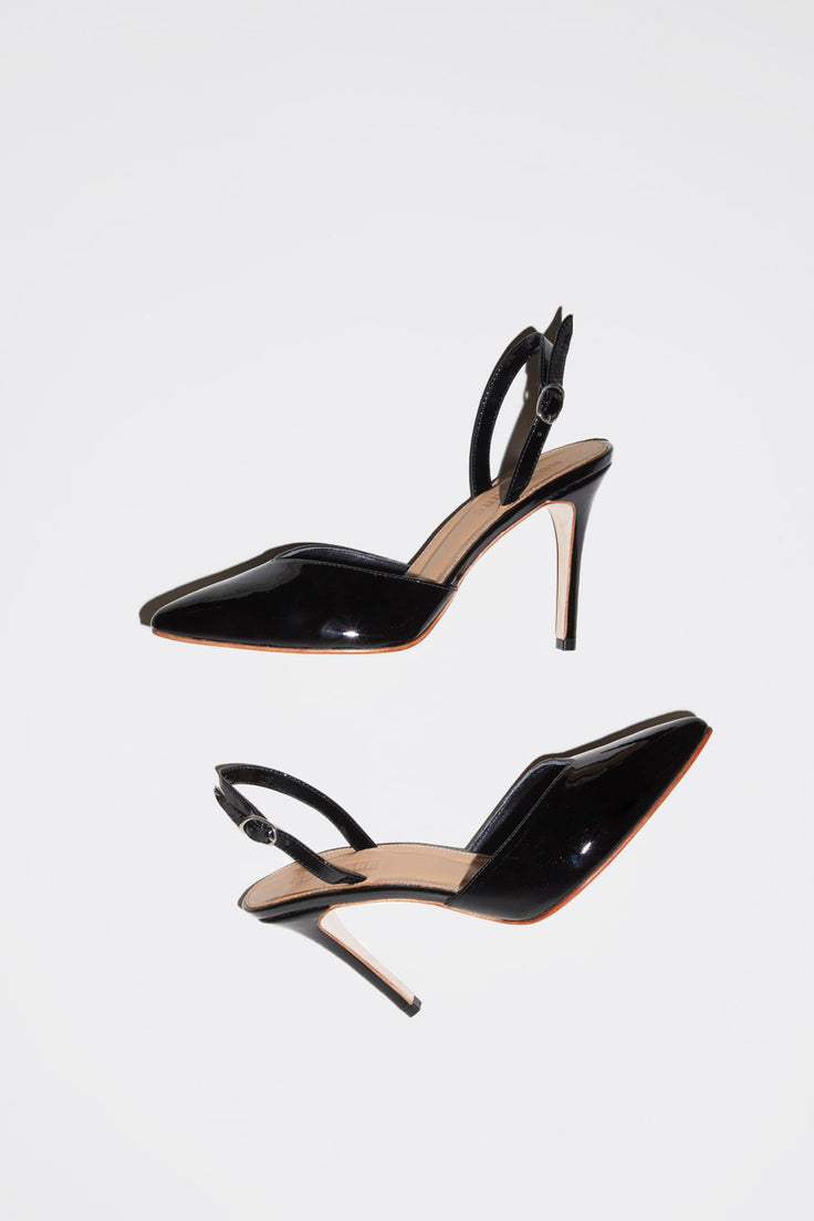 Image of No.6 Monika V Front Heel in Black Patent