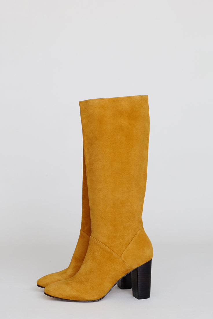 Image of No.6 Naomi Tall Pull on Boot in Marigold Suede